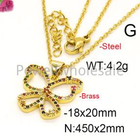 Fashion Brass Necklace  F6N402224vbpb-J35