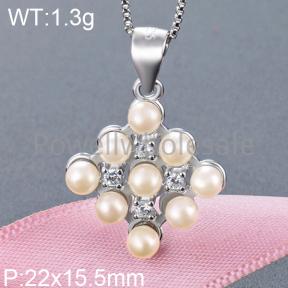 925 Silver Pearl Pendant  JP30039vhop-M112  YJBD002356