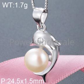 925 Silver Pearl Pendant  JP30046bhkh-M112  YJBD002547